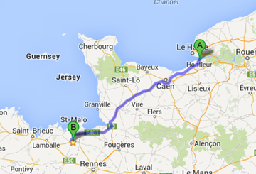 Driving from Honfleur to Dinan (233km)