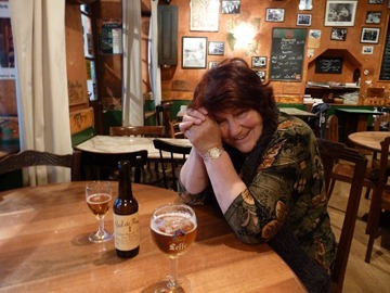 Pam having a cider