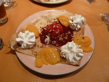 Crepe Peche Melba which was Peaches and Ice Cream with a Raspberry Coulis, Chantilly Cream and Almonds