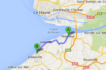 Map from Honfleur to Trouville-Sur-Mer